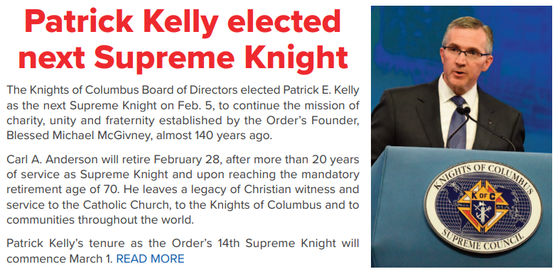 Patrick Kelly elected next Supreme Knight